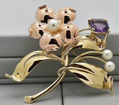 Vintage Flower Pin in 14 K Yellow and Rose Gold with Amethyst and Pearl