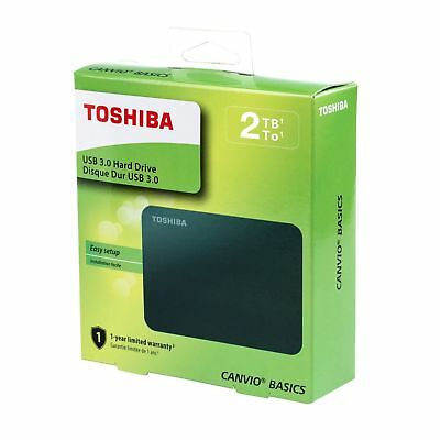 TOSHIBA 2TB Canvio Basics Portable Hard Drive USB 3.0 Model HDTB320XK3CA Black
