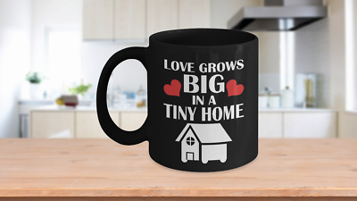 Tiny Home 11oz Black Coffee Cup - Housewarming Gift Idea for Small House Familie
