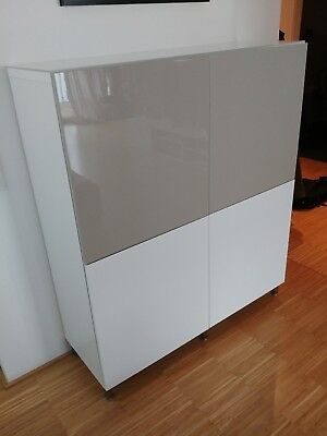 ikea besta sideboard kommode schrank weiss beige. Black Bedroom Furniture Sets. Home Design Ideas