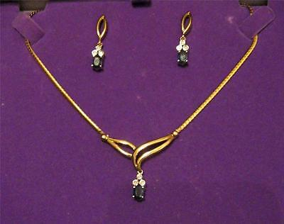 Shire Diamond Necklace And Earring Set 9kt Gold Made In Italy