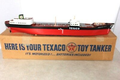 Vintage TEXACO Toy Tanker Oil Freighter Ship Motorized  Model with Original Box