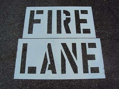 "18"" FIRE LANE Stencil, Parking Lot Stencils 1/16"", 60 Mil, Pavement Marking"