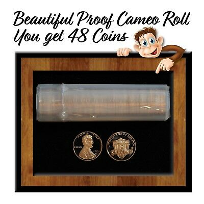 Lot of 2015-S Proof Cameo Lincoln Shield Cents - Roll of 48 Coins