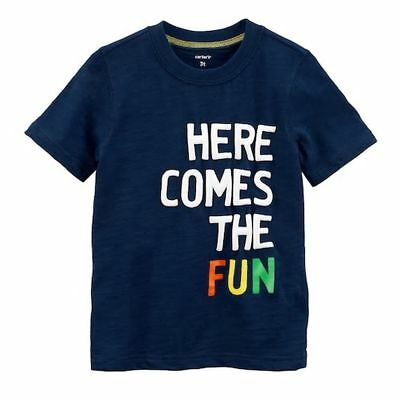 New Carter's Boys Top Here Comes The Fun Graphic Tee NWT 9m 12m 18m 24m 5T Blue