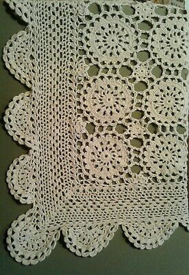 stunning vintage unused crochet ecru tablecloth 71x47 USA made