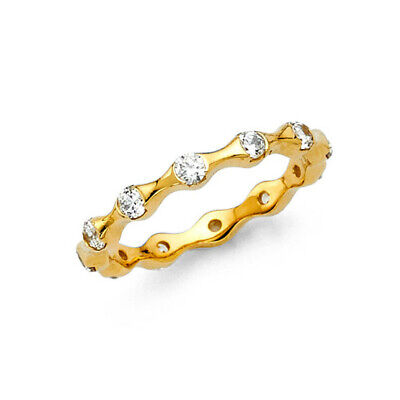 1 Ct. Diamond Eternity Band Stackable Ring Wedding Bands 14k Solid Yellow Gold