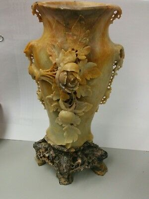 Chinese Carved Soapstone Vase 2000 Picclick