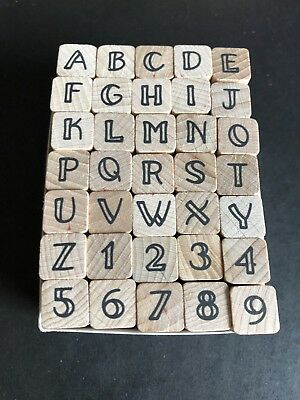 Rubber Stamp Alphabet Number Symbol Wooden Box Set Print Style Wood Letter F1N3