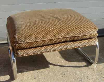 Pace Ottoman in Diamond Khaki with Chrome Supports