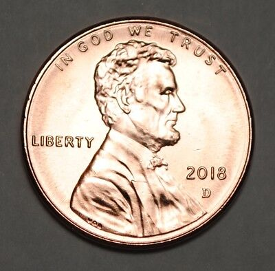 United States 2018 D 1 Cent Lincoln Shield Cent BU USA Penny UNC KM# 468