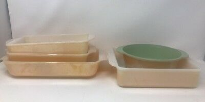 Lot Of Five Vintage Fire King Peach Copper  luster  casserole dishes