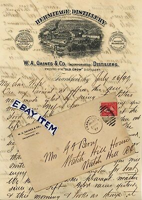 1897 FRANKFORT KENTUCKY letterheads HERMITAGE DISTILLERY W A Gaines &Co OLD CROW