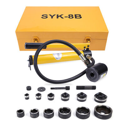 10 Ton 6 Die Hydraulic Knockout Punch Driver Tool Kit Hole Hand Tool Conduit Set