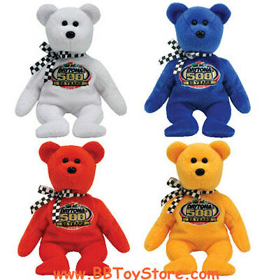 TY Beanie Babies - RACING GOLD the Nascar Bears (Set of 4 - Yellow, White, Red+)