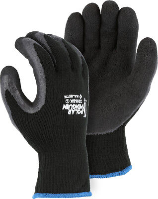 Polar Penguin Heavy Knit WINTER Grip Latex Palm 3396BK lined insulated gloves