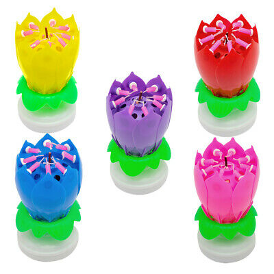 4x Magic Lotus Flower Birthday Party Spin Music Candle With 8 Small Candles