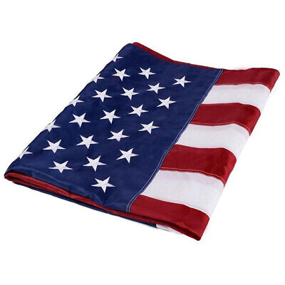 US American Flag Heavy Duty Embroidered Stars Sewn Stripes Grommets Nylon 3x5 ft