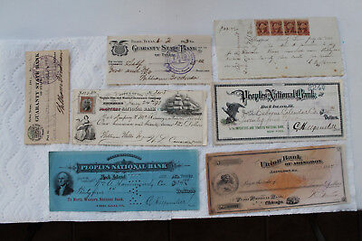 Old Checks from USA Banks, 1882-1913, 6 total, People's National Bank...