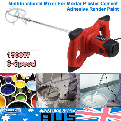 Drywall Mortar Stirring Mixer 1500W Plaster Cement Tile Adhesive Render Paint AU