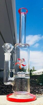 Hookah Water Pipe Glass 12 inch Bong Straight Shooter Heavy Base Wheel