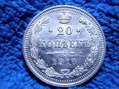Russia: Scarce Silver 20 Kopeks 1916-Bc Uncirculated To Brilliant Uncirculated!!