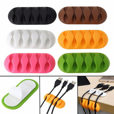 Self-Adhesive USB Charge Cable Holder Desk Clips Organiser Wire Cord Management