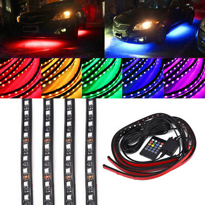 4x RGB LED Unterboden Beleuchtung  SMD Strip Neon Farbwelchsel Musik Control