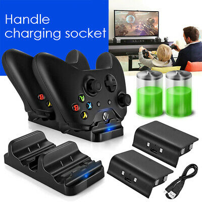 Dual Dock Charging Station 2 Rechargeable Batteries Charger Xbox One Controller