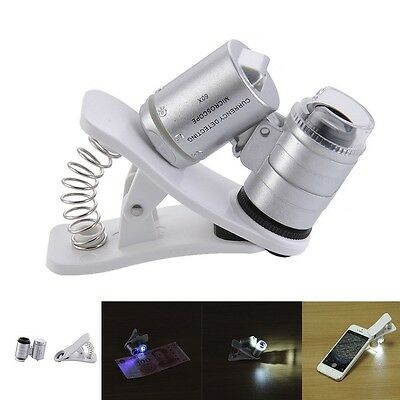 60X Optical Zoom Mobile Phone Camera Magnifier Microscope Micro Lens LED + Clip