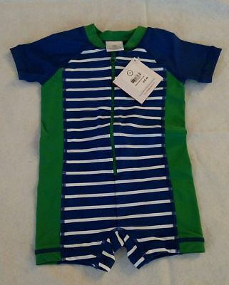 NWT Hanna Andersson Swimmy Rash Guard Striped 1PC Swimsuit 85 2T Toddler Boy
