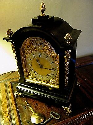 A Good Quality Old Ebonised Mantel Clock. Working order