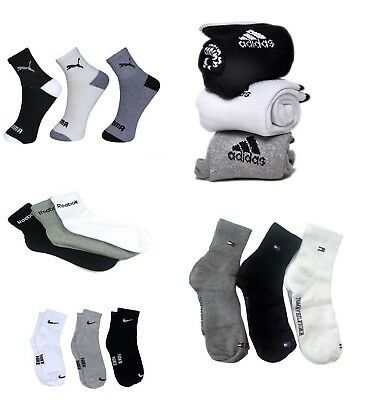3 pair multi brand ankle length socks multi color Fast Free shipping Sports Men