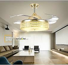 modern ceiling fan with  Crystal Retractable Blades Remote Control With Lights