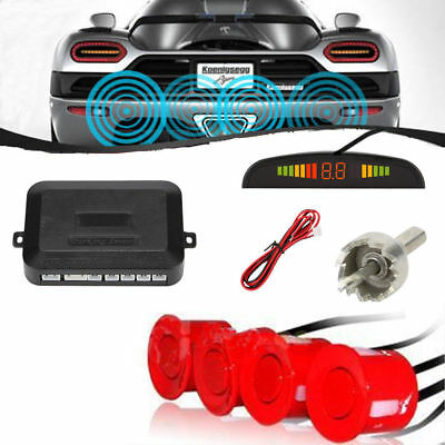 Parking 4 Sensors Car Reverse Backup Rear Buzzer Radar System Sound Alarm Red