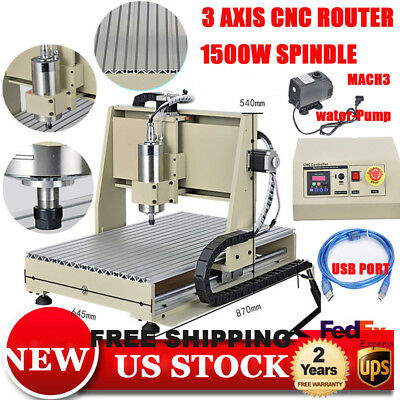 Usb 1500W Vfd 6040 3Axis Cnc Router Engraver Machine Engraving 3D Cutter Carving
