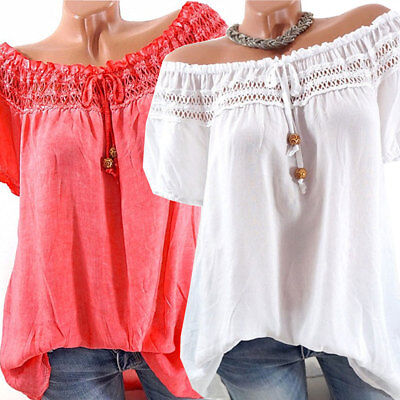 Fashion Womens Off-shoulder Short Sleeve Casual Blouse Loose Solid Tops T-Shirt