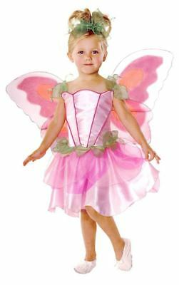 Girls Pretty Pink Pixie Fairy Tale Princess & Wings Fancy Dress Costume Outfit