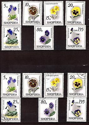 ALBANIA series Sc#1227-1233 new and obli: Flowers: thoughts and purple PR597