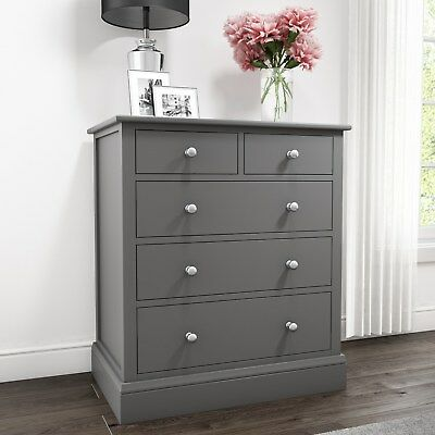 Grey Chest of Drawers 2+3 Drawer Solid Wood Bedroom Storage Unit