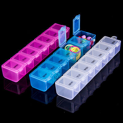 7 Day Weekly Pill Travel Box Tablet Holder Medicine Dispenser Organiser Storage