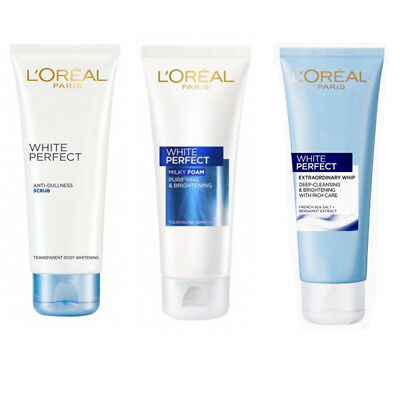 loreal paris white perfect whip foam facial cleanser whitening 100g