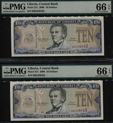 "TT PK 27c 2006 LIBERIA $10 ""J. ROBERTS"" PMG 66 EPQ GEM UNC SEQUENTIAL SET OF TWO"