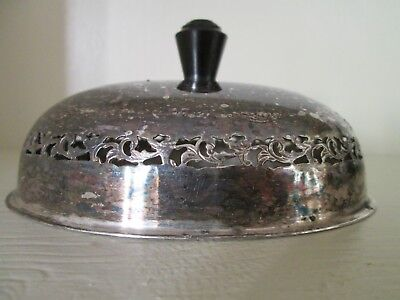 """Ornate Oval Silverplate Silver Lid Top cut out. Black knob. tarnished small 4.5"""""""