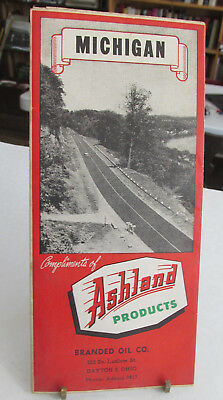 1951 Ashland Products MICHIGAN road Map, Gas Station Road Map,Branded Oil Dayton