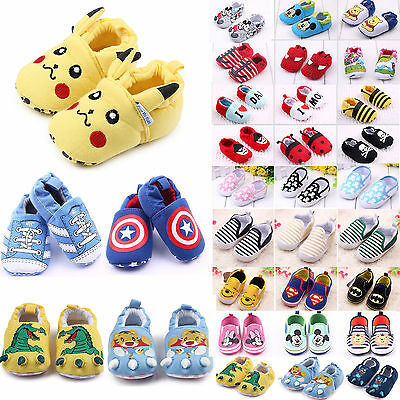 Baby Infant Toddler Soft Sole Slip On Crib Shoes Boys Girls Slippers Sneakers UK