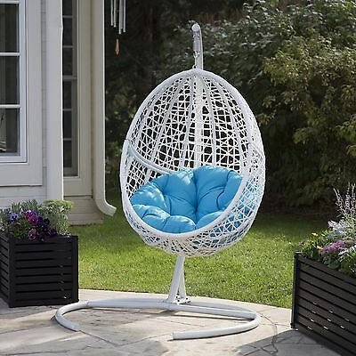 Resort Style Patio Chair Resin Wicker Hanging Egg Cushion Seat Outdoor Furniture