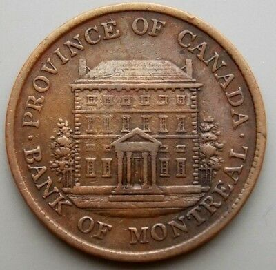 1842 PC-1A3 Province Of Canada Canadian Bank Of Montreal 1/2 Penny Token