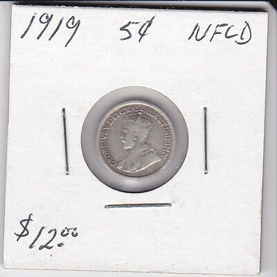 Canada 1919 NFLD 5 Cent silver coin