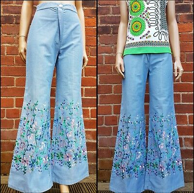70s Vintage Floral Embroidered Pale Denim Jean Flares. Boho/Hippy